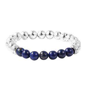 Lava, Lapis Lazuli Bead Stretch Bracelet in SS